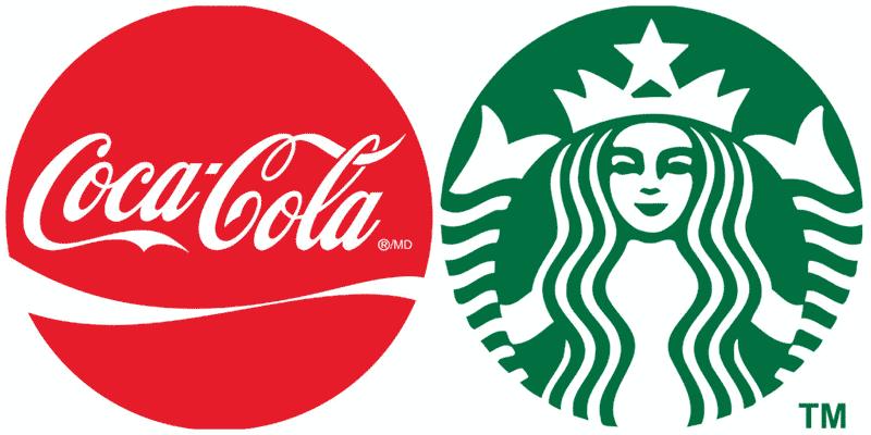 Брендинг. Famous logo coca-cola and starbucks