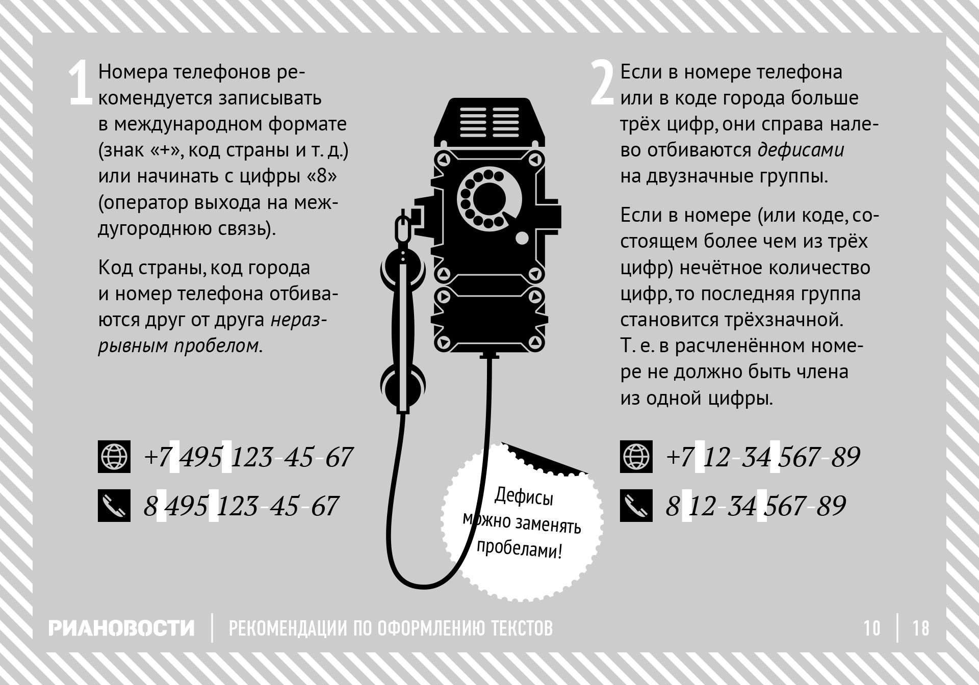 Рекомендации по оформлению текстов. Номера телефонов. RIA