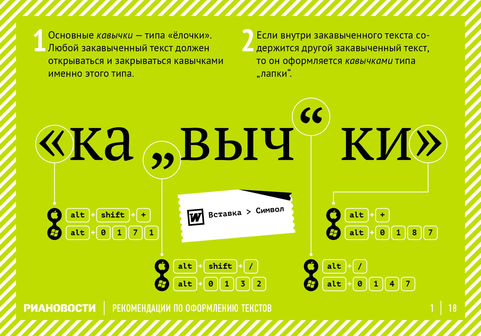 Рекомендации по оформлению текстов. Кавычки. RIA