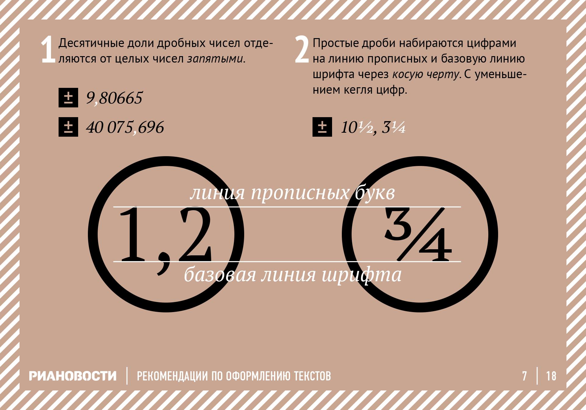 Рекомендации по оформлению текстов. Дроби. RIA